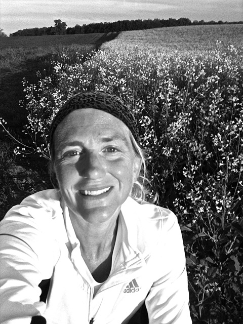 Selfie during an early-morning run in the old landscape.